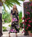 Black maxi dress Camila with pink and yellow flower print
