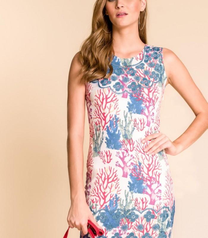 vestido corto corales cuello redondo sin mangas