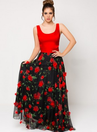 Red and black maxi dress with flower in relief