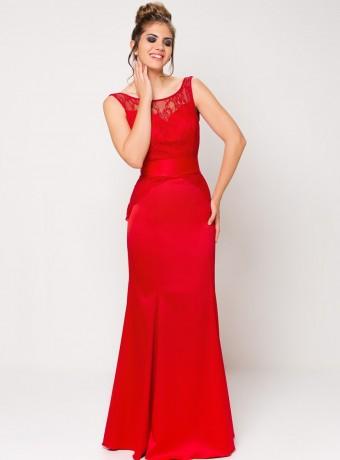 Vestido largo rojo corte sirena