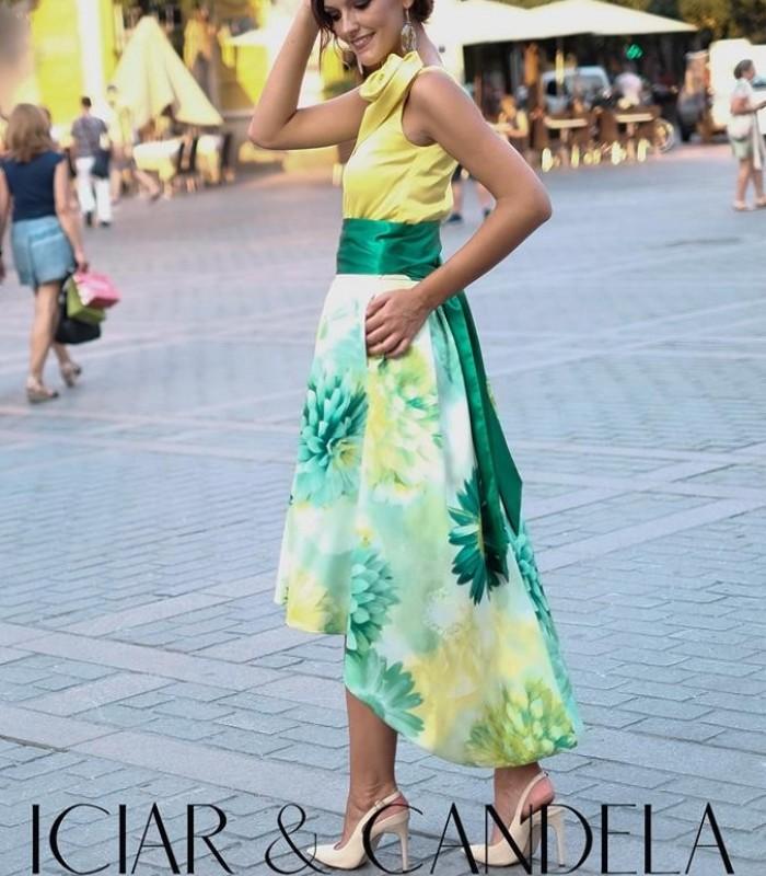 Falda Midi estampada verde