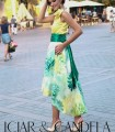 Green midi skirt with stamping