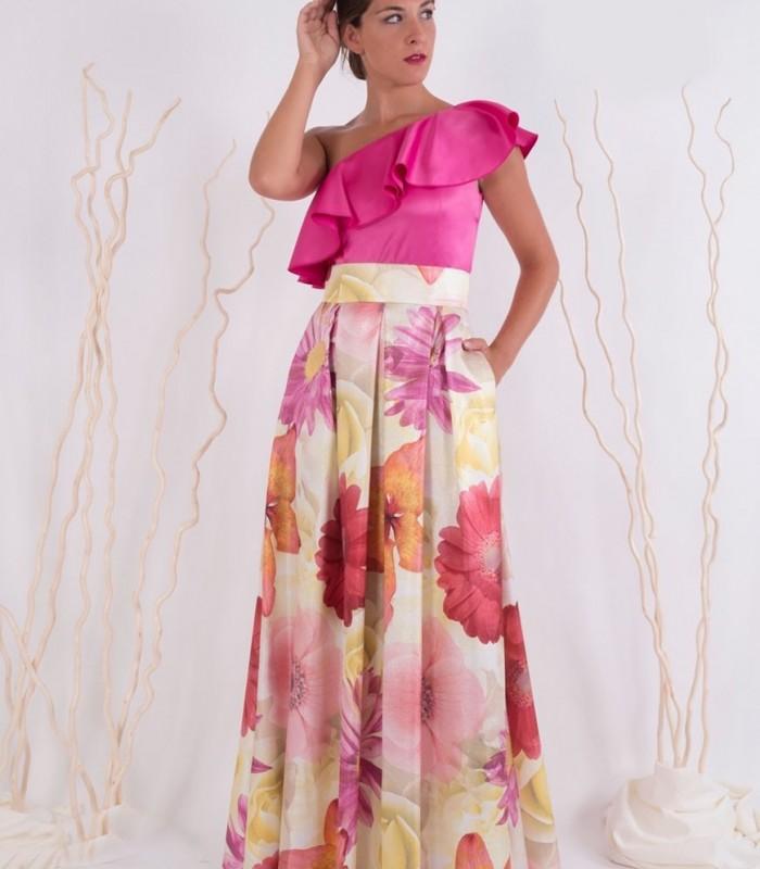 Falda larga estampada de flores con tablas