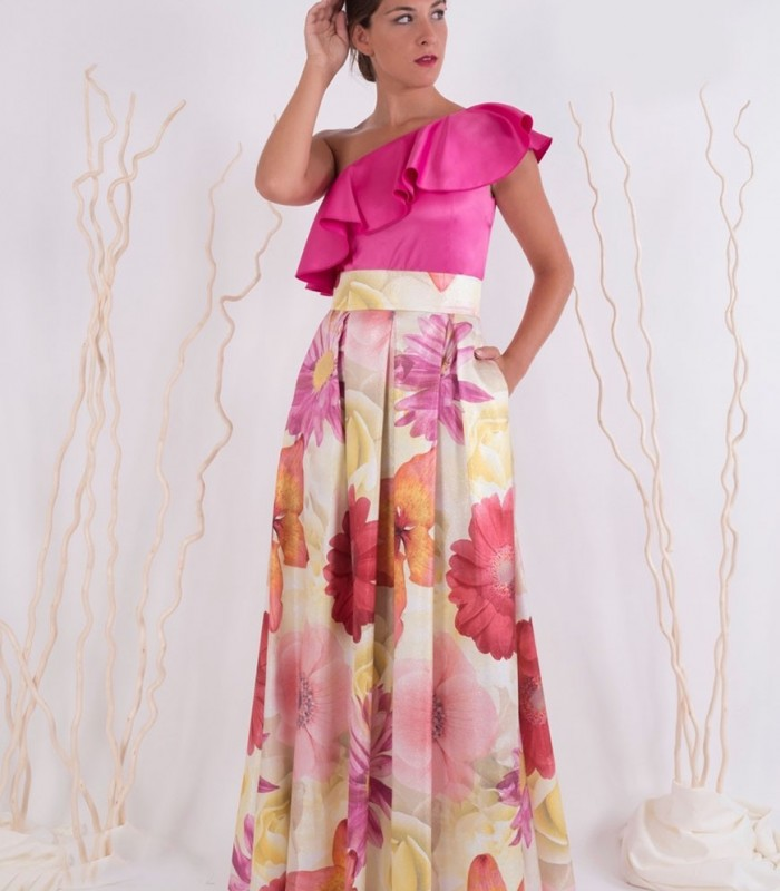 Floral printed and pleated maxi skirt