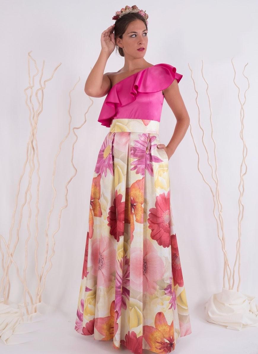 f1815e3939 Falda larga estampada de flores con tablas de Creasur - Comprar Online