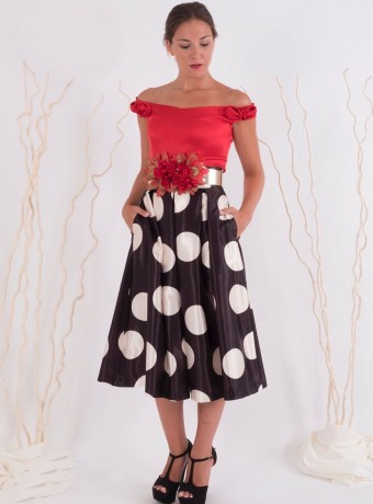 Lunar midi swing skirt