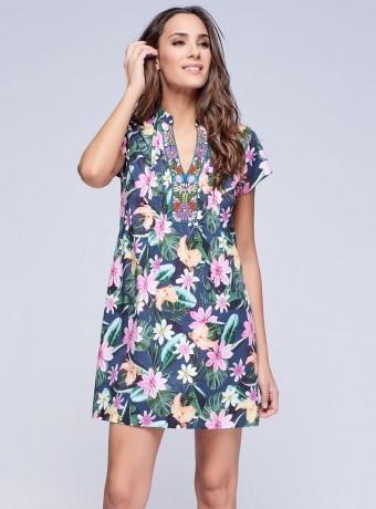 Vestido corto floral hawaiano