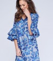 Leaves printing midi dress