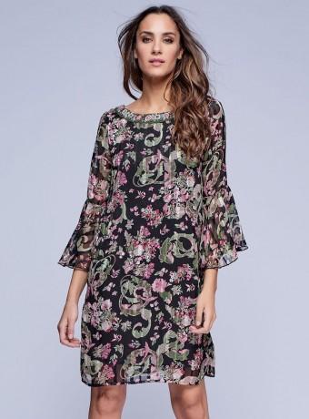 Vestido corto estampado floral en gasa