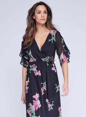 Vestido largo negro con estampado floral