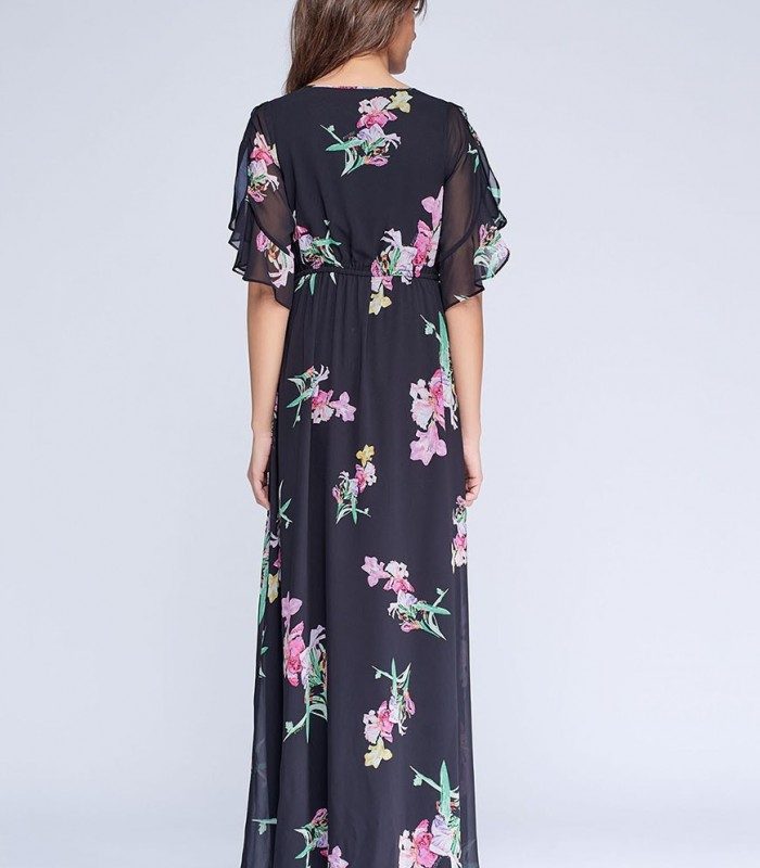 Black maxi dress with floral print