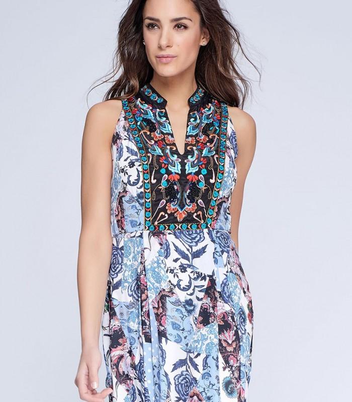 Printed maxi dress patchwork