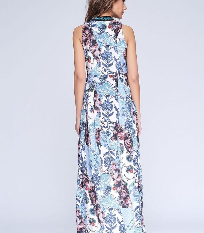 Vestido largo estampado patchwork