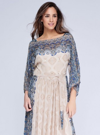 Printed and embroidered midi dress
