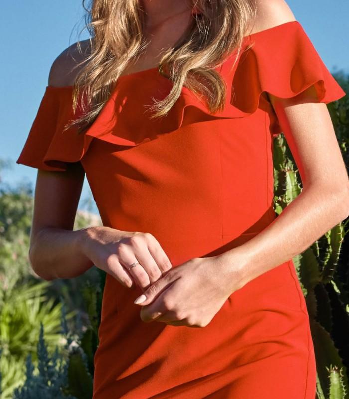 vestido Ane rojo con volantes