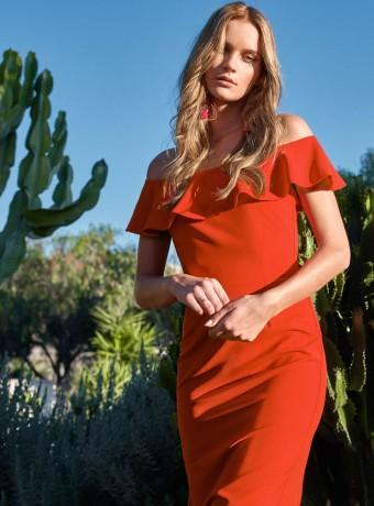 Red ruffle dress Ane