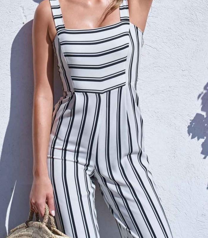 Stripe jumpsuit Olivia white and black