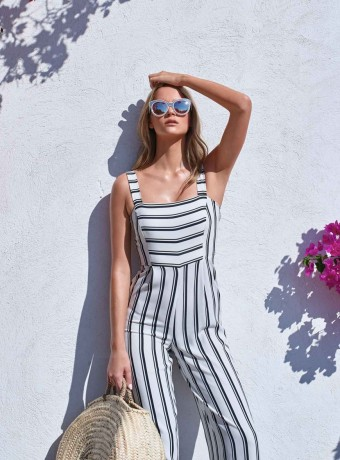 Stripe jumpsuit Olivia white and black