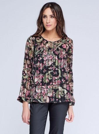 Blusa estampado floral en gasa con rayas