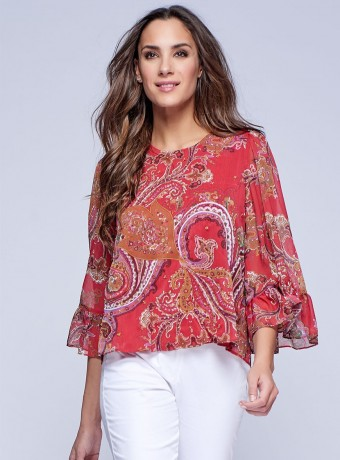 Embroidered blouse with printing and french sleeves