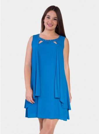 Dress with front ruffles in blue