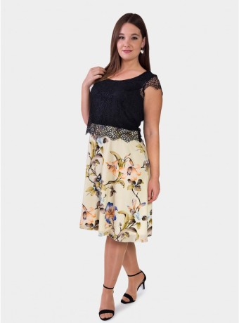 Midi dress with floral print sleeveless in black and beige